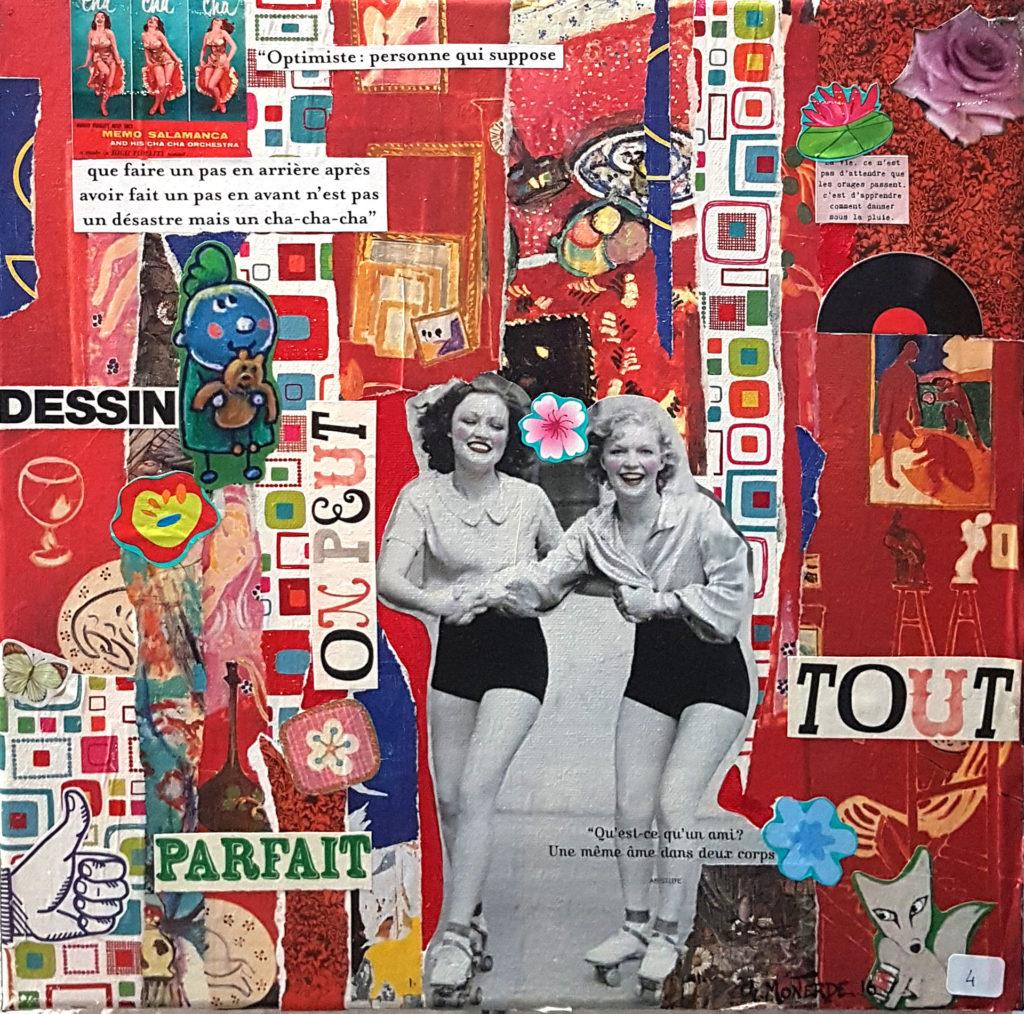 Collages sur toile avec texte
