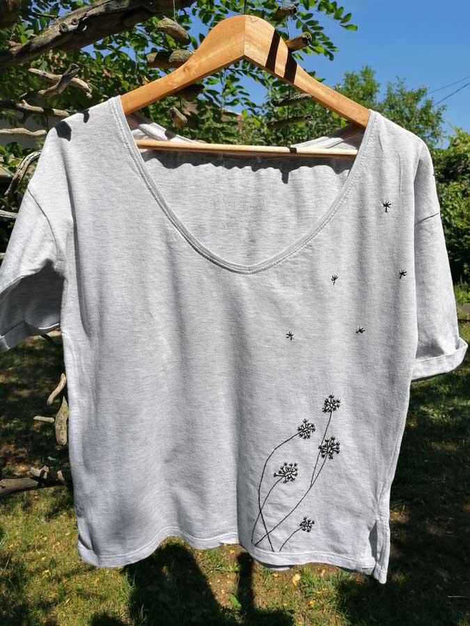 fleurs sur tee shirt